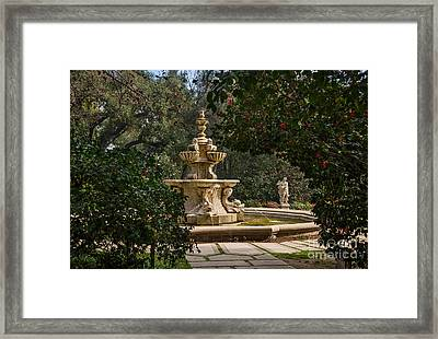 Fountain Beyond The Trees Framed Print by Jamie Pham