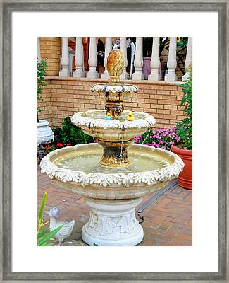 Fountain In The Garden 3 Framed Print by Lanjee Chee