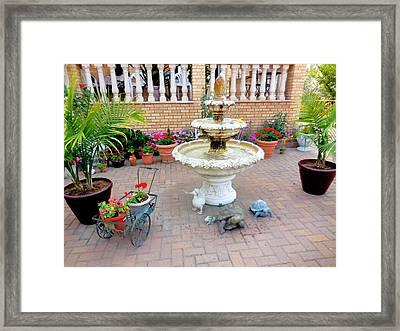 Fountain In The Garden 4 Framed Print by Lanjee Chee