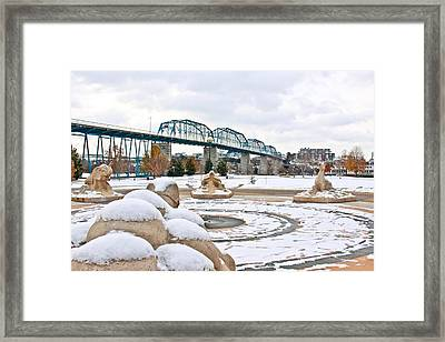 Fountain In Winter Framed Print by Tom and Pat Cory