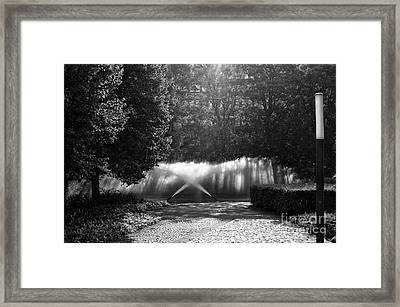 Fountain Light In Hamburg Mono Framed Print by John Rizzuto