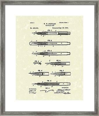 Fountain Pen 1890 Patent Art Framed Print by Prior Art Design