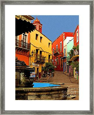 Fountain Plaza Framed Print by Mexicolors Art Photography