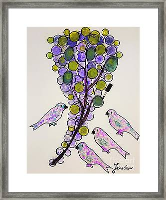 Four Birds And Grapes Framed Print by Jasna Gopic