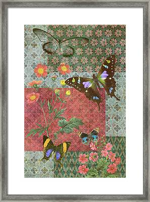 Four Butterfly Patch Green Framed Print by JQ Licensing