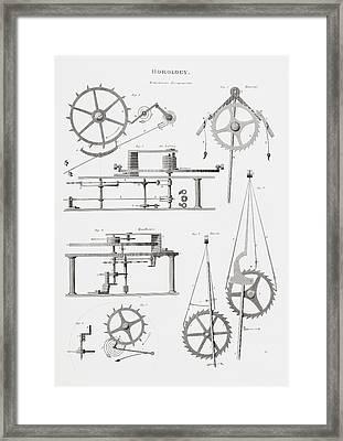 Four Different Remontoire Escapement Framed Print by Vintage Design Pics