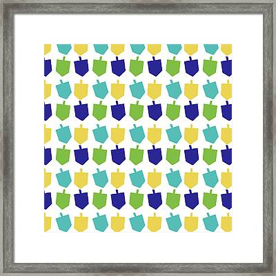 Four Dreidels Pattern- Art By Linda Woods Framed Print by Linda Woods