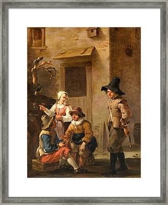 Four Figures Conversing In The Courtyard Of An Italian House Framed Print by MotionAge Designs