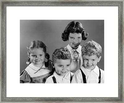 Four Smiling Children, C.1950s Framed Print by H. Armstrong Roberts/ClassicStock