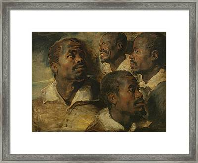 Four Studies Of A Head Of A Moor Framed Print by Peter Paul Rubens