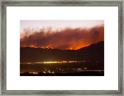 Fourmile Canyon Fire Burning Above North Boulder Framed Print by James BO  Insogna