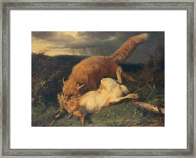 Fox And Hare Framed Print by Johann Baptist Hofner
