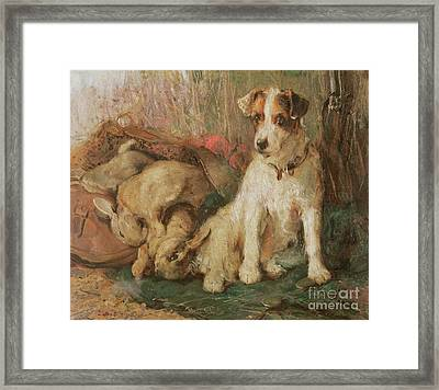 Fox Terrier With The Day's Bag Framed Print by English School