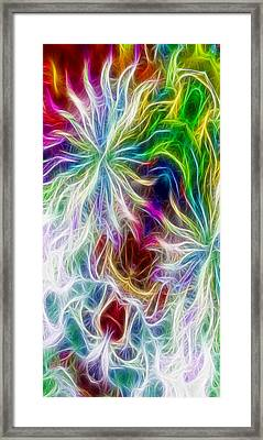 Fractal Flowers With Filter Effect - Vertical Framed Print by Gina Lee Manley