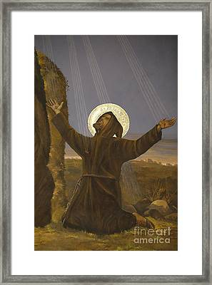 Francis Of Assisi Receives The Stigmata Framed Print by Italian School