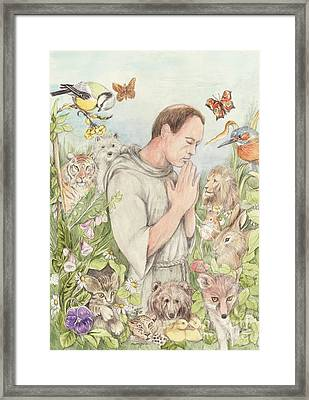 Francis Of Assisi With The Animals Framed Print by Morgan Fitzsimons