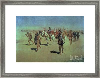 Francisco Vasquez De Coronado Making His Way Across New Mexico Framed Print by Frederic Remington