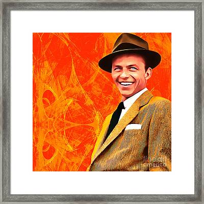 Frank Sinatra Old Blue Eyes 20160922 Square Framed Print by Wingsdomain Art and Photography
