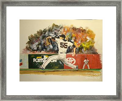 Freaky Tim Lincecum Framed Print by Phil  King