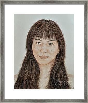 Freckle Faced Asian Beauty With Bangs  Framed Print by Jim Fitzpatrick