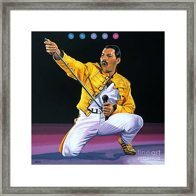 Freddie Mercury Live Framed Print by Paul Meijering