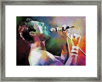 Freddie Mercury Framed Print by Mal Bray