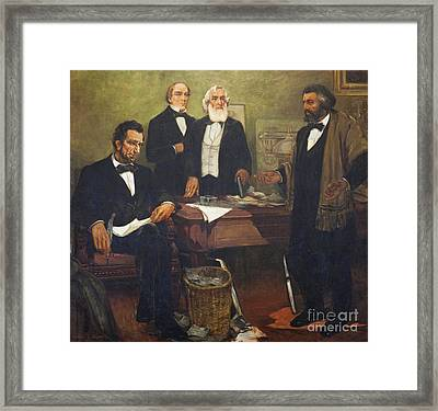 Frederick Douglass Appealing To President Lincoln And His Cabinet To Enlist African Americans Framed Print by William Edouard Scott