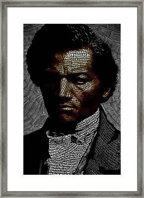 Frederick Douglass Word Mosaic Framed Print by Hans Fleurimont