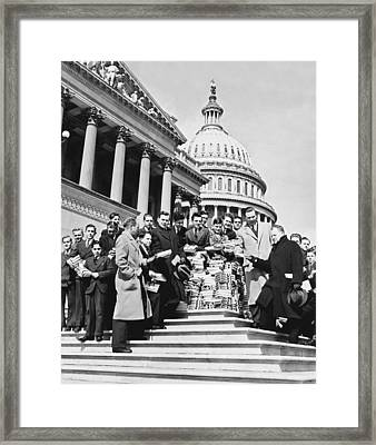 Free Books For Congress Framed Print by Underwood Archives