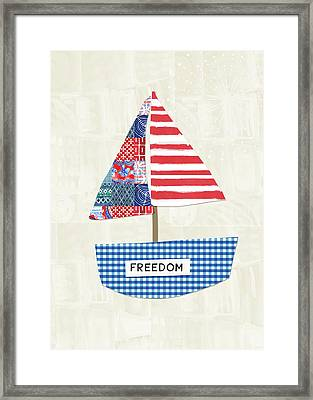 Freedom Boat- Art By Linda Woods Framed Print by Linda Woods