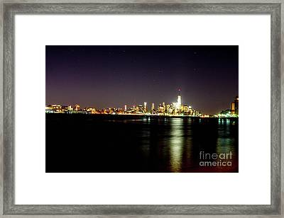 Freedom Tower With The Starry Sky Framed Print by William Rogers
