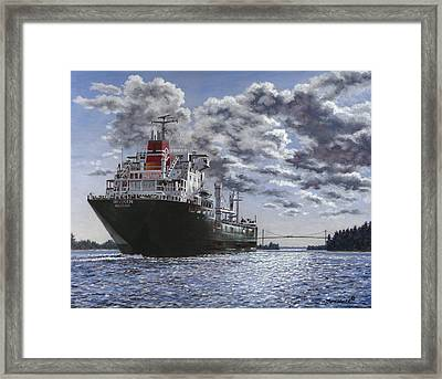 Freighter Inviken Framed Print by Richard De Wolfe