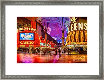 Fremont Street Casinos Framed Print by Az Jackson