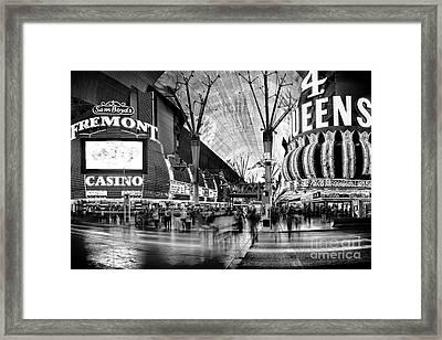 Fremont Street Casinos Bw Framed Print by Az Jackson