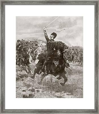 French Artillery Men Charging Towards Framed Print by Vintage Design Pics