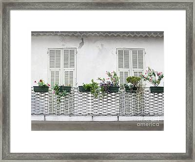 French Balcony With Shutters Framed Print by Elena Elisseeva