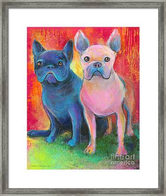 French Bulldog Dogs White And Black Painting Framed Print by Svetlana Novikova