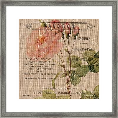 French Burlap Floral 4 Framed Print by Debbie DeWitt
