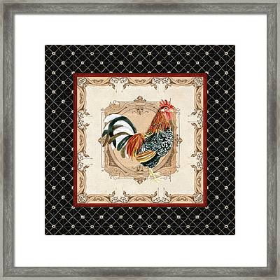French Country Roosters Quartet Black 1 Framed Print by Audrey Jeanne Roberts