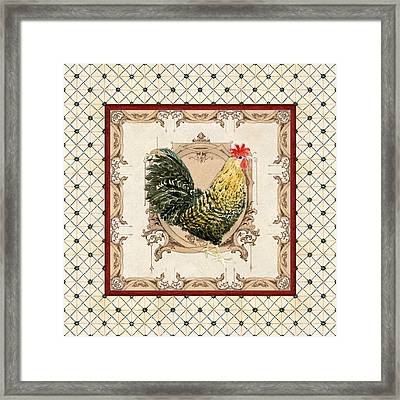 French Country Roosters Quartet Cream 3 Framed Print by Audrey Jeanne Roberts