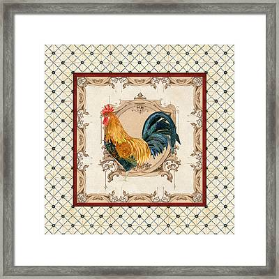 French Country Roosters Quartet Cream 4 Framed Print by Audrey Jeanne Roberts