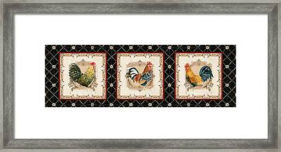 French Country Vintage Style Roosters - Triplet Framed Print by Audrey Jeanne Roberts
