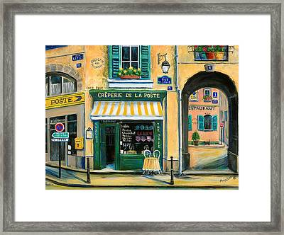 French Creperie Framed Print by Marilyn Dunlap