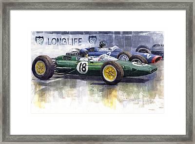 French Gp 1963 Start Lotus Vs Brm Framed Print by Yuriy  Shevchuk