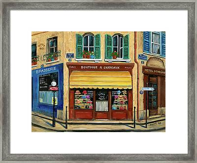 French Hats And Purses Boutique Framed Print by Marilyn Dunlap