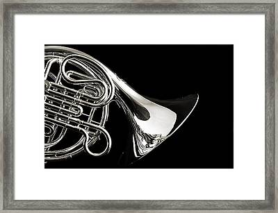French Horn Isolated On Back Framed Print by M K  Miller