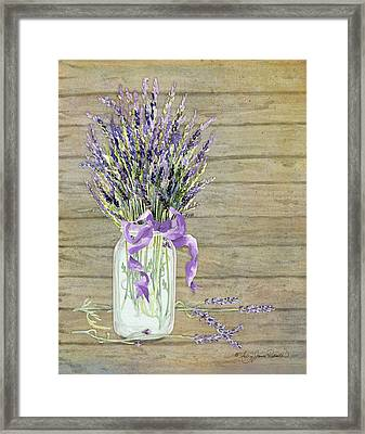 French Lavender Rustic Country Mason Jar Bouquet On Wooden Fence Framed Print by Audrey Jeanne Roberts