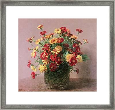 French Marigolds Framed Print by Ignace Henri Jean Fantin-Latour