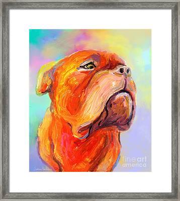 French Mastiff Bordeaux Dog Painting Print Framed Print by Svetlana Novikova