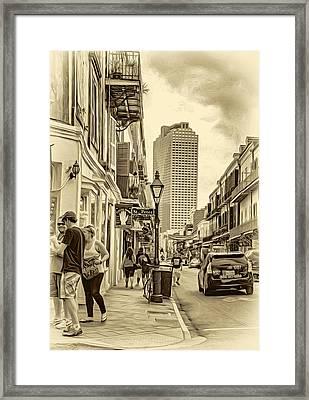 French Quarter Sidewalk 2 - Sepia Framed Print by Steve Harrington